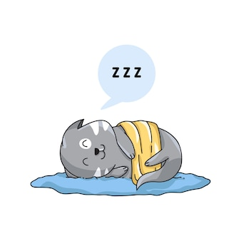 Personagens de gato dormindo feliz