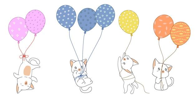 Personagens de gato fofo com balões.
