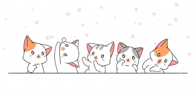 Personagens de gato kawaii bonito mão desenhada