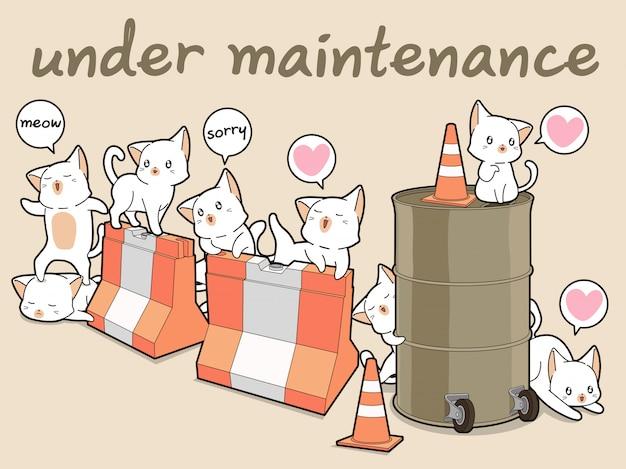 Personagens de gato kawaii com barreiras