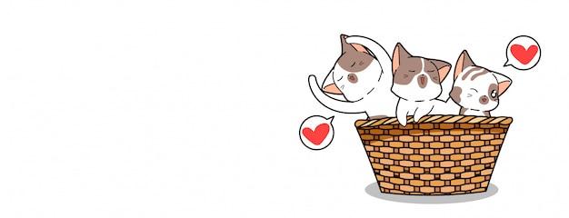 Personagens de gato kawaii dentro da cesta