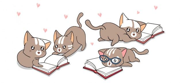 Personagens de gato kawaii estão lendo livro alegremente