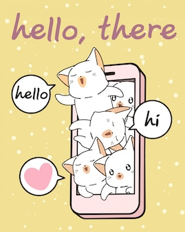 Personagens de gato kawaii no celular
