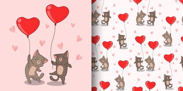 Personagens de gato kawaii padrão sem emenda estão carregando balão de coração vermelho para dia dos namorados