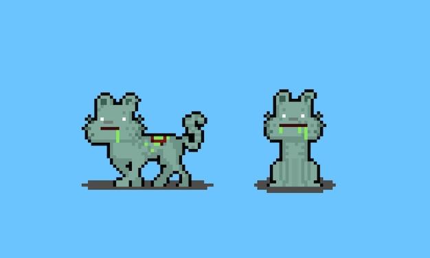 Personagens de gato zumbi de desenho animado de pixel art.