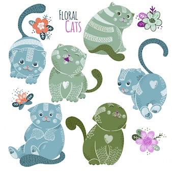 Personagens de gatos de vetor bonito dos desenhos animados com flores