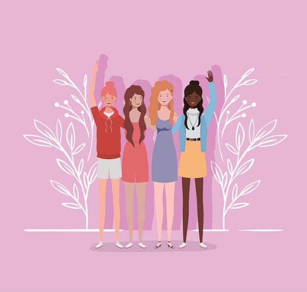 Personagens de grupo de meninas interraciais jovens e bonitas