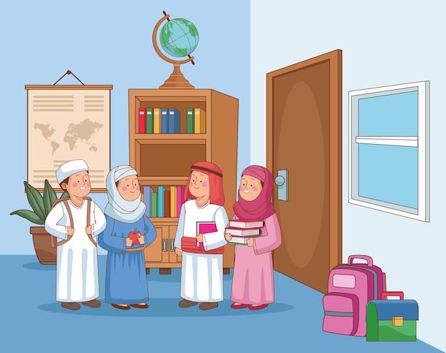 Personagens de grupos de estudantes árabes