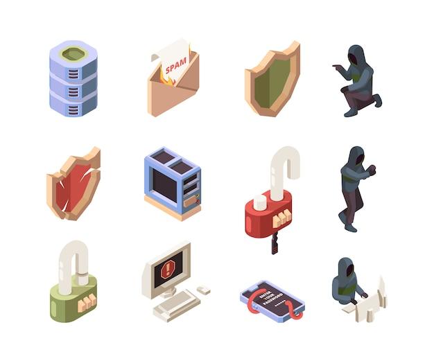 Personagens de hackers. ataque de rede de computadores online cadeado cibernético de proteção de dados digitais, spam e vírus de phishing isométricos. ilustração de ataque cibernético de segurança, escudo e proteção de segurança