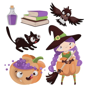 Personagens de halloween desenhado à mão design plano desenho animado clip art mágica de terror feriado