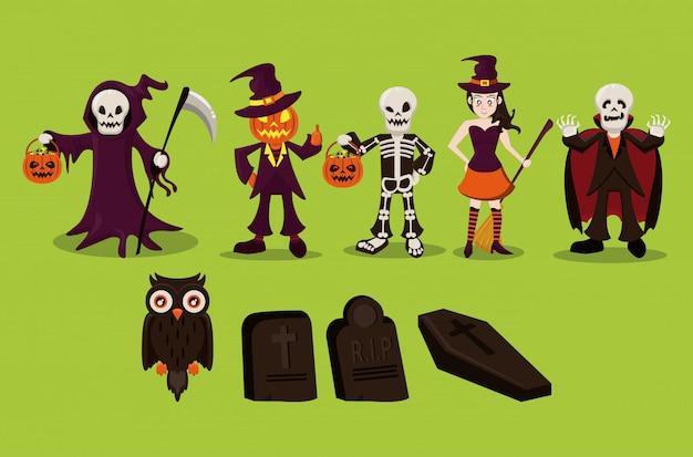 Personagens de halloween e desenhos animados