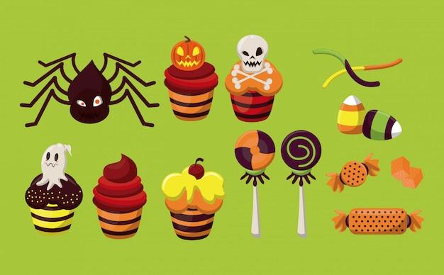 Personagens de halloween e desenhos de doces