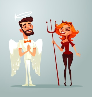 Personagens de homem anjo e mulher demônio.