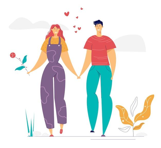 Personagens de homem e mulher apaixonados estão caminhando juntos