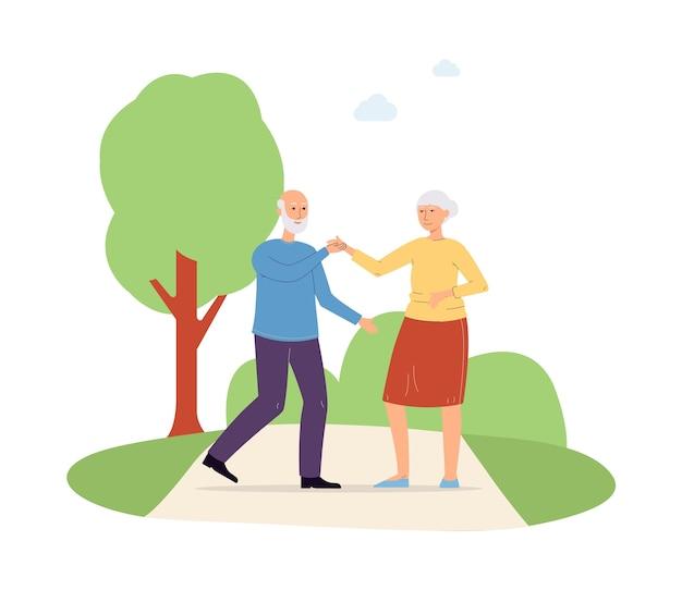 Personagens de homem e mulher idosos ativos dançando no parque e se divertindo no período de vida de aposentadoria, plano isolado no fundo branco.