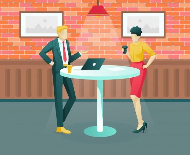 Personagens de homem e mulher na reunião informal de negócios.
