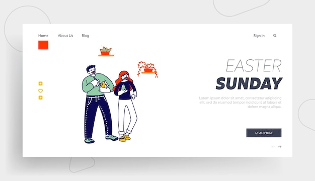Personagens de homem e mulher pintando ovos para modelo de página inicial de celebração da páscoa.