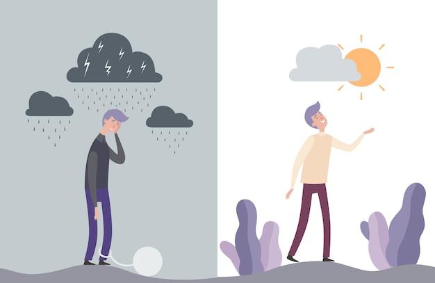 Personagens de homem feliz e infeliz. ilustração de saúde humana mental