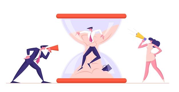 Personagens de homem furioso e mulher-chefe gritando para um megafone no escritório