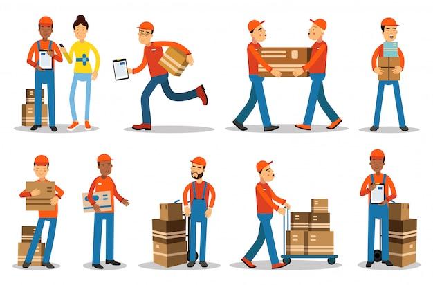 Personagens de homens de entrega. pessoas enviando produtos ilustrações