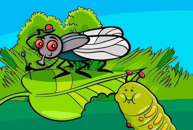 Personagens de insetos de desenhos animados de mosca e lagarta