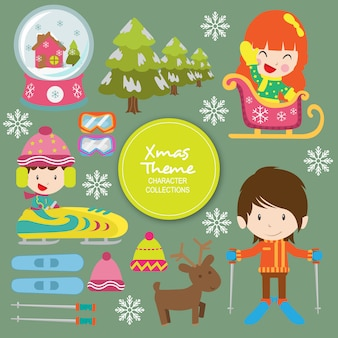 Personagens de inverno natal sammy