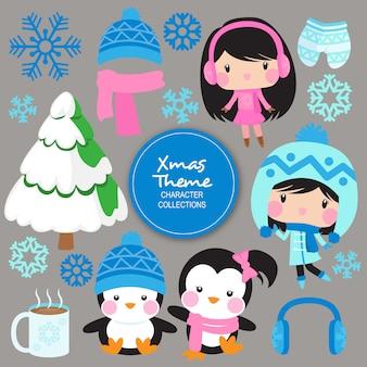 Personagens de inverno noel natal