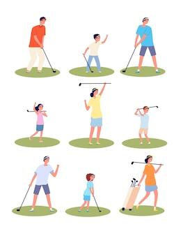 Personagens de jogadores de golfe. homens mulheres jogando, jogadores de golfe isolados com equipamentos e bolsas