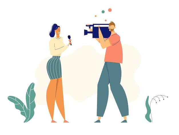 Personagens de jornalistas com microfone e câmera