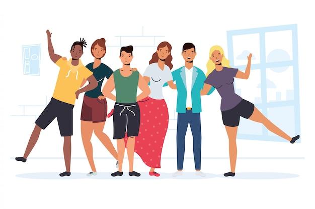 Personagens de jovens inter-raciais na celebração do dia da amizade