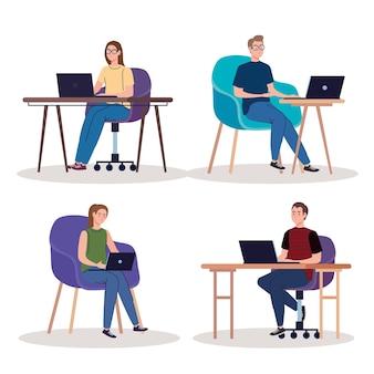 Personagens de jovens trabalhadores freelancers usando laptops