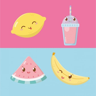 Personagens de kawaii de frutas e sorvetes frescos