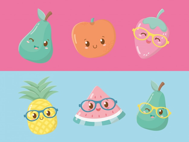 Personagens de kawaii de frutas frescas e tropicais