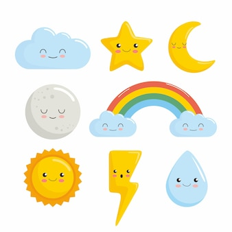 Personagens de kawaii nuvem estrela lua sol arco-íris