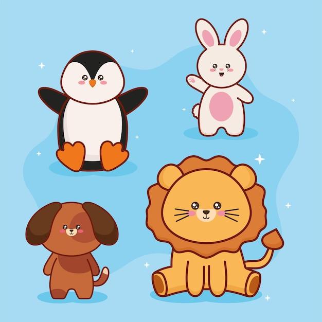 Personagens de kawaii quatro animais