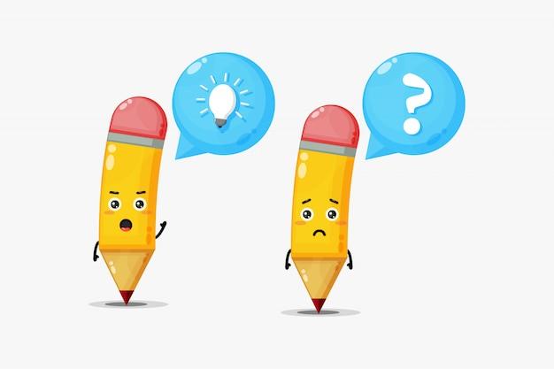 Personagens de lápis fofos que têm idéias e confusão