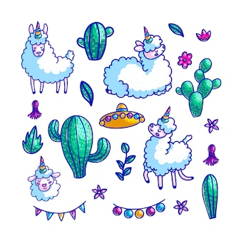 Personagens de lhamas mão conjunto de ilustrações coloridas
