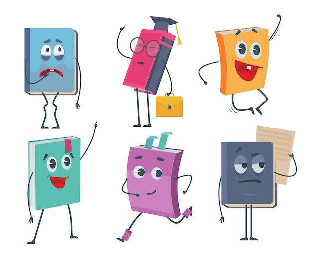 Personagens de livros. desenhos animados de caretas engraçadas de livros antigos abertos e fechados coleção de mascote.
