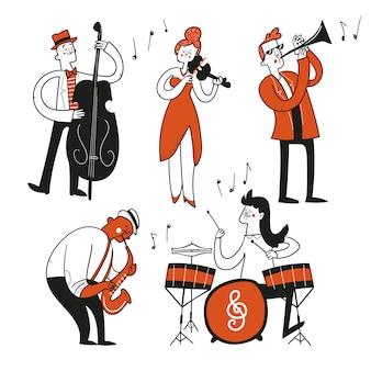Personagens de mão desenhada para jazz, festival de música rock músicos, violino, trompete, baixo, sax, bateria.