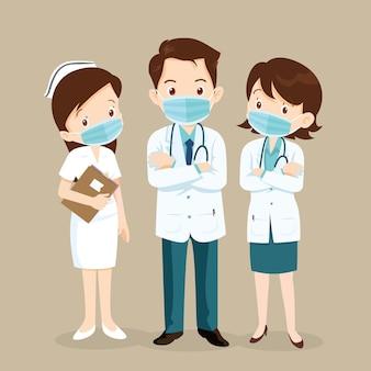 Personagens de médicos e enfermeiras usando máscaras