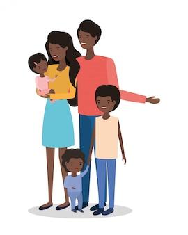 Personagens de membros da família afro bonito