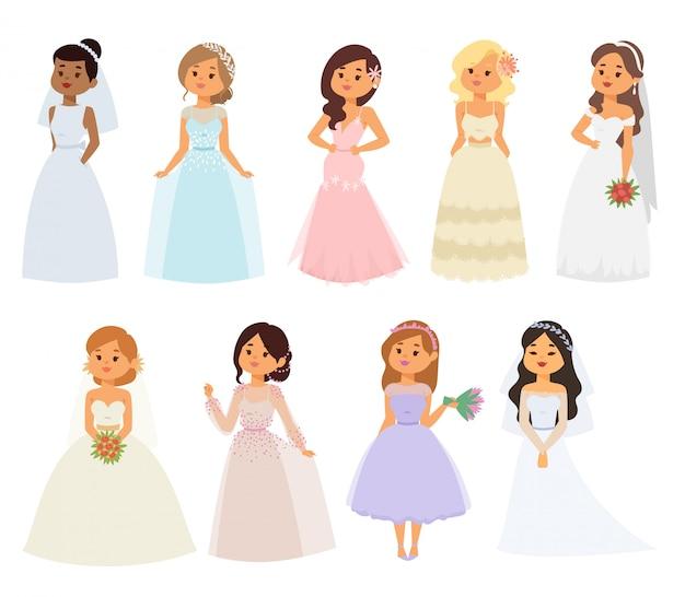 Personagens de menina noiva casamento
