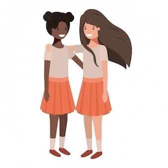 Personagens de meninas de etnia adolescentes amigável