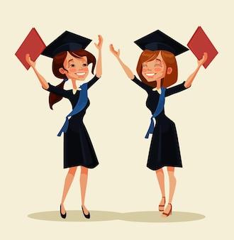 Personagens de meninas estudantes celebram a formatura. desenho animado