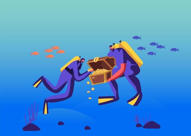 Personagens de mergulho autônomo encontrados baú de tesouro afundado com ouro