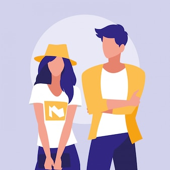 Personagens de modelos profissionais de casal