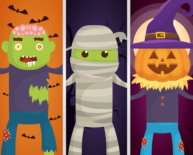 Personagens de monstros de halloween