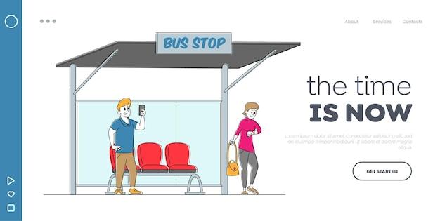 Personagens de moradores no modelo de página de destino da estação de ônibus