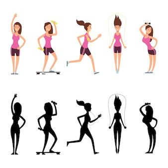 Personagens de mulher do esporte.