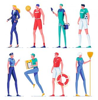 Personagens de mulher e homem fazendo trabalhos com equipamento.